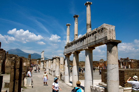 scenaries: Pompeii, Italy, MAY 10, 2012 - Ruins of ancient Roman City near Naples in Italy Editorial