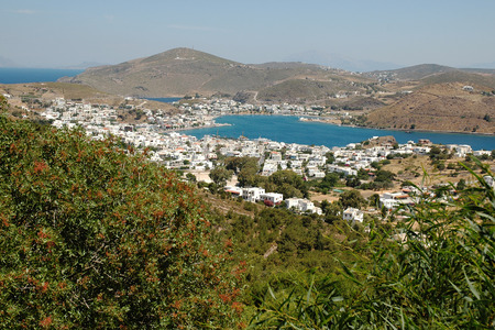 chora: View of Patmos island from Chora, town of Skala, the main port, Greece