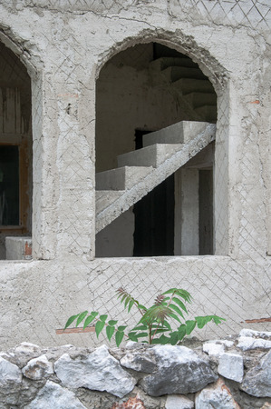 uncompleted: Unfinished house made of concrete in the Romanian village of Banat