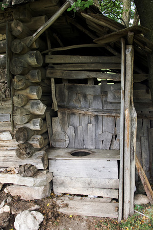 latrine: Toilet without doors in the Romanian village of Banat with a view to the yard