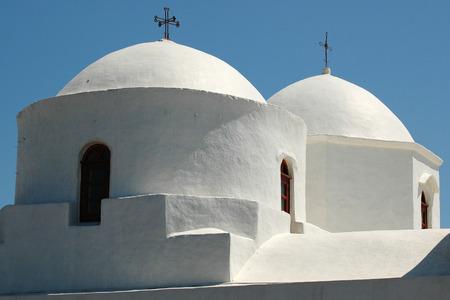 cupolas: Cupolas from Greek Orthodox Church at Patmos Island in Greece Stock Photo