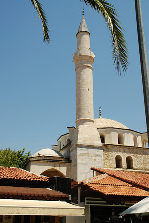 Outside view of the dome and minaret of a mosque in Kusadasi, Turkey Stock Photo