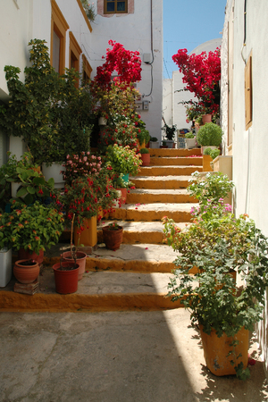 The characteristic narrow street on the island of Samos