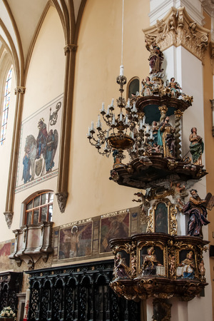 exaltation: Prostejov CZECH REPUBLIC - APRIL 21, 2012: The pulpit in the church of the Exaltation of the Holy Cross