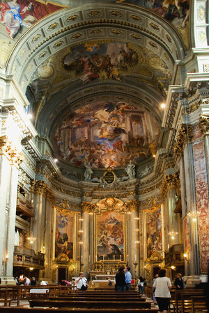 italian fresco: ROME, ITALY - MAY 12, 2012 - Interior of Jesuit church, nave and altar