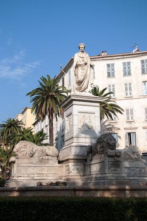 AJACCIO, CORSICA, FRANCE, AUGUST 30, 2016: Statue of Napoleon Bonaparte in Roman Garba historical center of Ajaccio