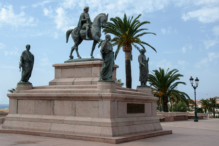 AJACCIO, CORSICA, FRANCE, AUGUST 30, 2016: The equestrian statue of Napoleon surrounded by the his four brothers in Roman Garba Located in Place de Gaulle Editorial
