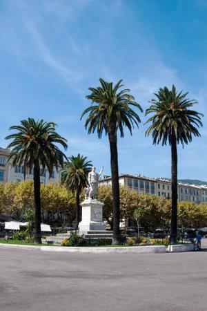 BASTIA, CORSICA, FRANCE, SEPTEMBER 03, 2016: A statue of Napoleon (as a Roman Emperor) on Wed. Nicolas square in Bastia