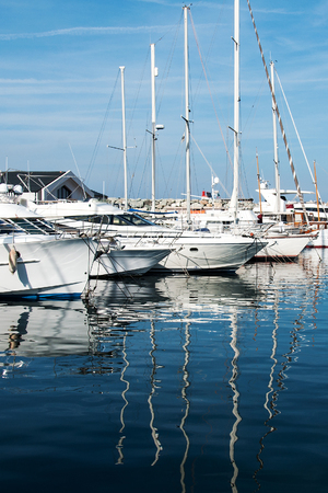 repose: Yachts and sailing boats moored in the small marina in Bastia, the French island of Corsica Stock Photo
