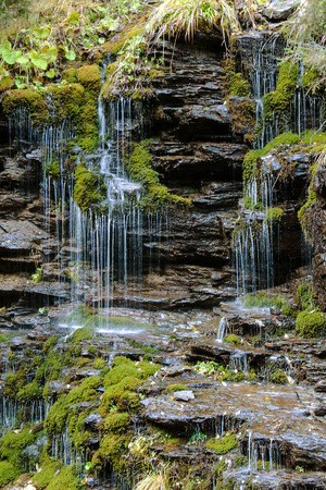 Waterfall and hair in the Jeseniky Mountains, Czech Republic Stock Photo