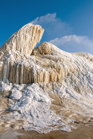 The sugar factory in Litovel, Czech Republic, discharges waste water into sludge fields and frost in winter created this geyser Stock Photo