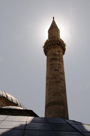 MOSTAR, BOSNIA AND HERZEGOVINA, MAY 12, 2010: Tower minaret of Koski Mehmed Pasha Mosque in Mostar