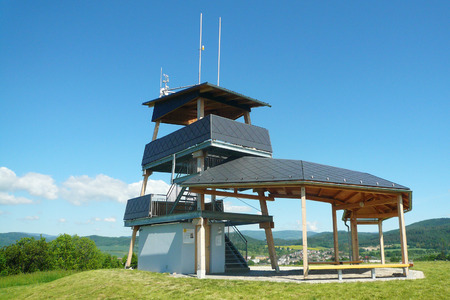 moravia: MORAVIAN REGION, CZECH REPUBLIC, MAY 27, 2017 - The new viewing tower on the hill Brusna near Bludov