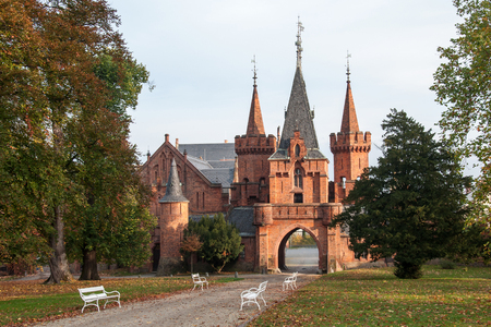 Red Castle in Hradec nad Moravic in Autumn Time, Czech Republic Editorial