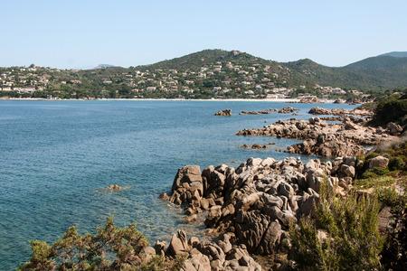 West French island Corsica, wild coastal landscape with stones
