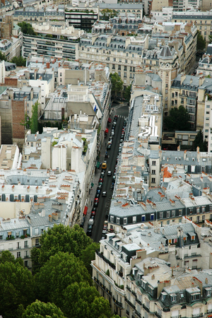Aerial view of Paris city, France, from the top of the Eiffel tower Фото со стока