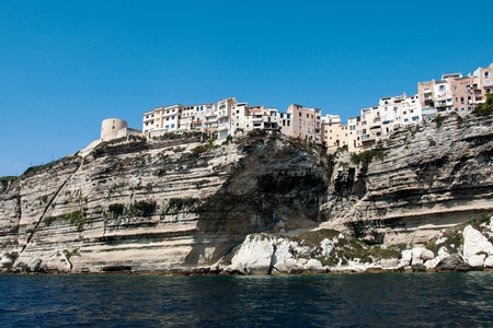 Beautiful seascape of Bonifacio of view from the cruise ship in Corsica Island, France Stock Photo