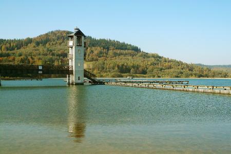 View tower and a bordered swimming area on Lake Stara Morawa, Poland