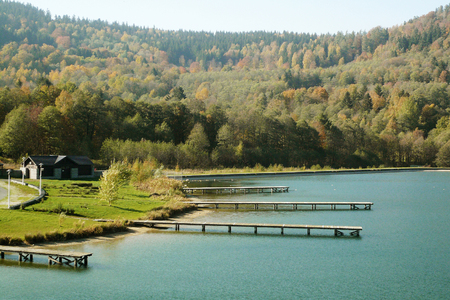 A simple wooden pier on Lake Stara Morawa, a holiday resort in southern Poland