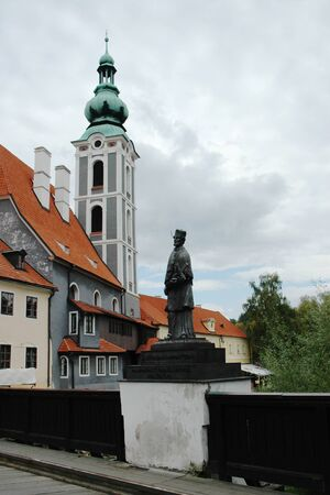 The historic center of Cesky Krumlov John of Nepomuk. Krumlov is a world cultural heritage site protected , Czech Republic