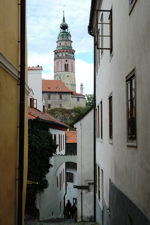 The historic center of Cesky Krumlov with tower of Krumlov castle. Krumlov is a world cultural heritage site protected by UNESCO, Czech Republic