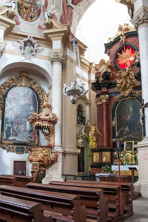 KUKS, CZECH REPUBLIC - MAY 16, 2019: Interior of the Church of the Holy Trinity in the extensive Baroque hospital complex from 1692 in the village of Kuks after restoration in 2013-2015