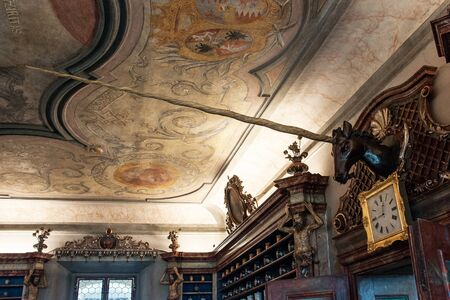 KUKS, CZECH REPUBLIC - MAY 16, 2019: Interior of the historical pharmacy in Kuks hospital from 1692 Редакционное
