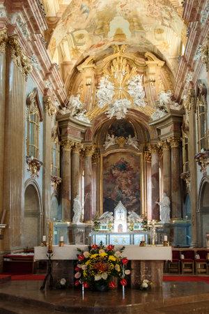 VELEHRAD, CZECH REPUBLIC - JUN 01, 2019: Altar in the Basilica of Assumption of Virgin Mary Cyril and Methodius Редакционное