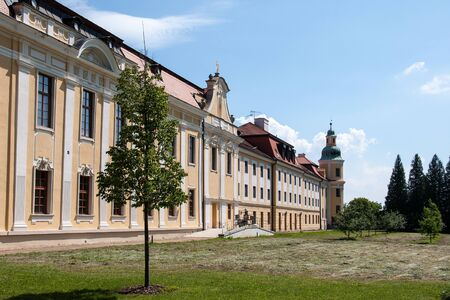 The rear wing of the Velehrad Monastery with a monastery garden. Velehrad is an important spiritual center and a place of religious pilgrimage in the Czech Republic