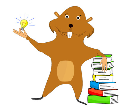 cartoon animal: Illustration beaver which one hand is based on the book and the other holding a light bulb symbolizing an idea.