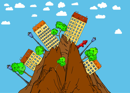 settle: Illustration of the urban landscape in wild mountains.