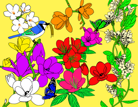 thicket: Spring landscape of colorful flowers and birds.