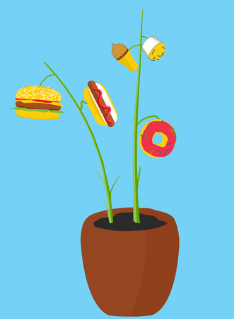 which: Fun illustration of a tree which grows different delicious food. Illustration