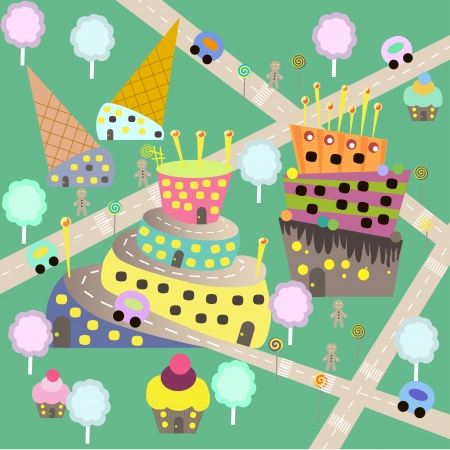 candy floss: children sweet town  raster Stock Photo