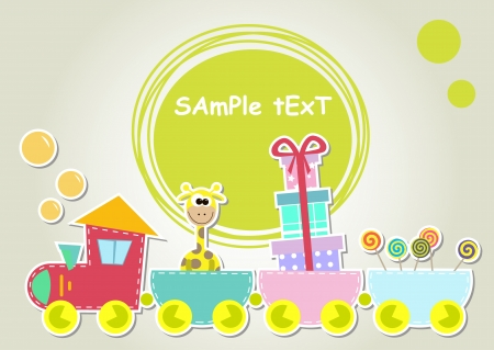loco: children train illustration with giraffe and gift