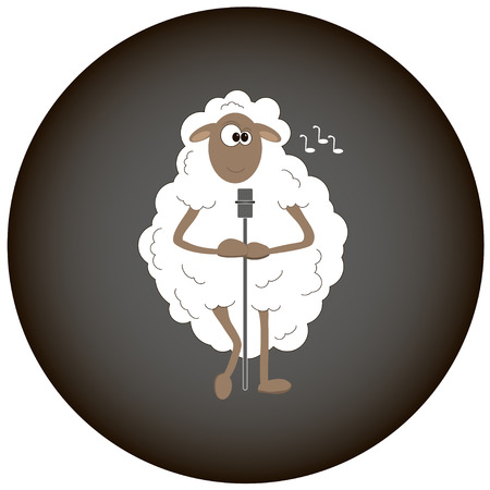 White sheep sings songs Vector