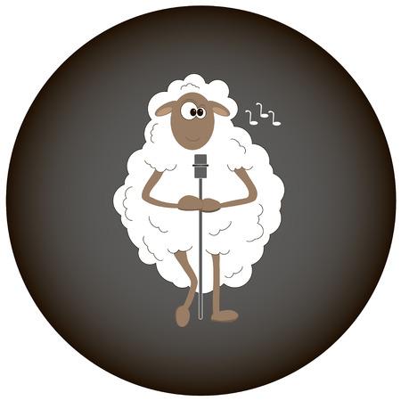sheep wool: White sheep sings songs Illustration