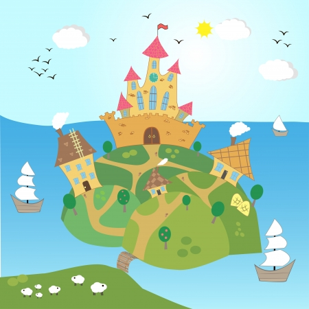 fairytale background: vector illustration of The countryside on a hill