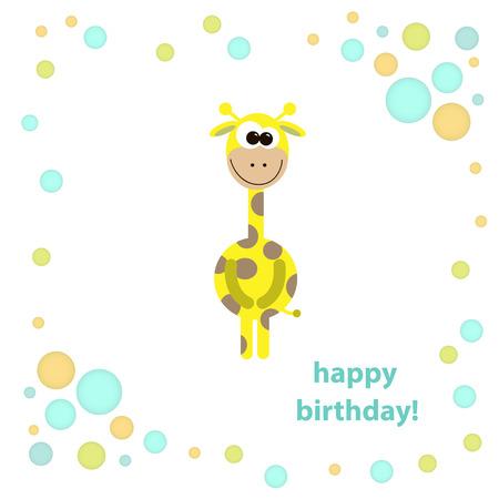 postcard with cute giraffe. vector illustration. Stock Vector - 24190389