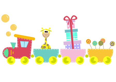 giraffes: children train illustration isolated on white background Illustration
