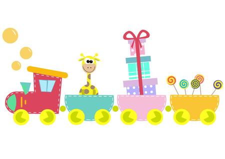drawing cartoon: children train illustration isolated on white background Illustration