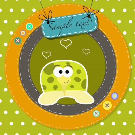 greeting card with funny cartoon turtle  Vector