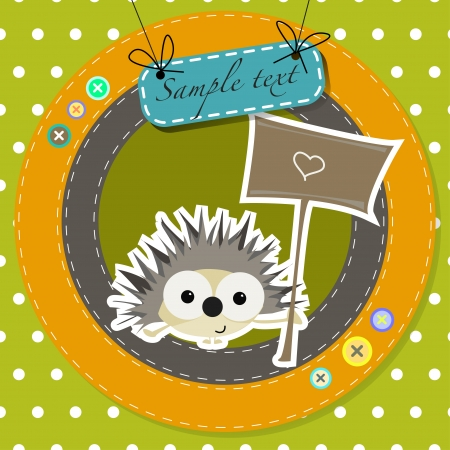 greeting card with funny cartoon hedgehog  Vector