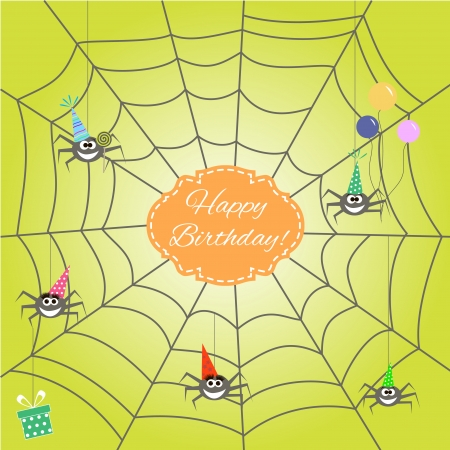 greeting card with funny cartoon spider. Vector