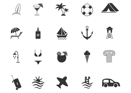Set of travel and beach Icons, vector illustration Vector