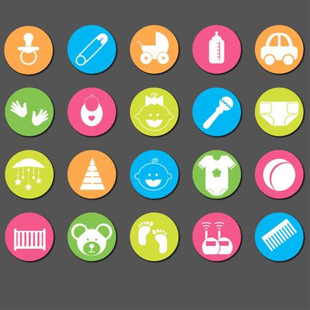 diaper pin: Baby and newborn icon set. Vector Illustration.