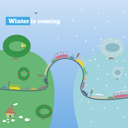 queuing: winter is coming, vector illustration, road, cars