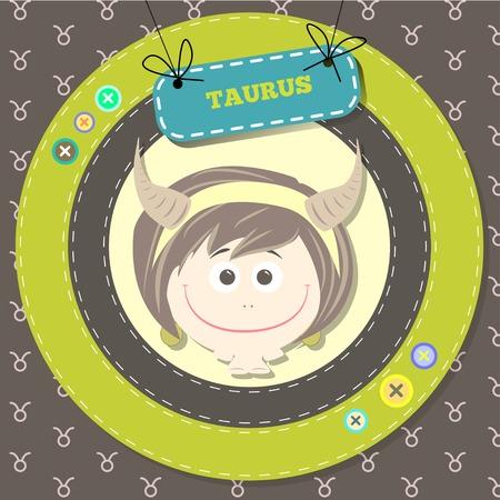 zodiacal: Zodiac signs collection. Cute horoscope - TAURUS. Vector illustration. SET. Illustration