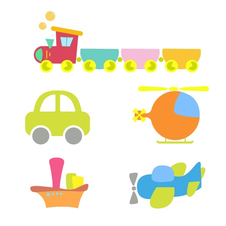 birthday train: cartoon baby transport, set, isolated on white.