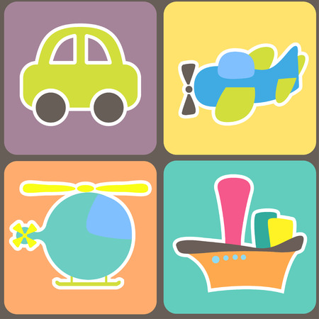 loco: seamless pattern with cartoon transport. vector illustration